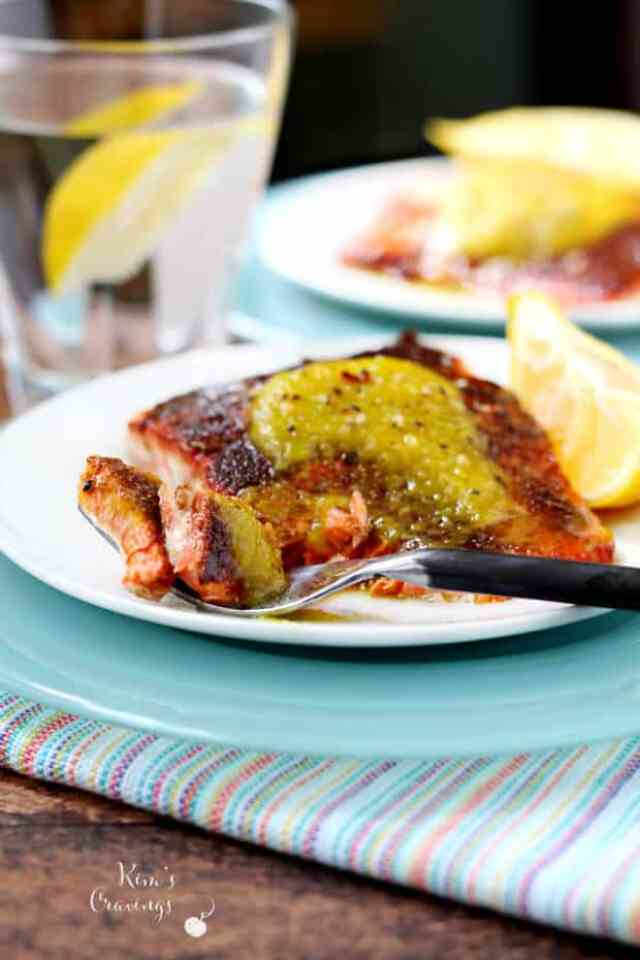 SEARED SALMON WITH CURRIED PINEAPPLE | Featured on www.thebestblogrecipes.com