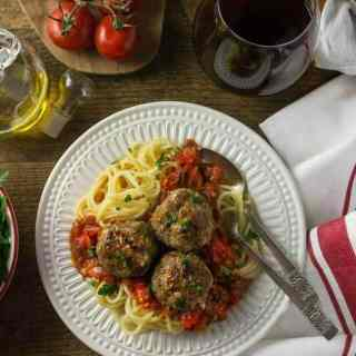 Spaghetti with Italian Chicken Meatballs and Pomodoro Sauce