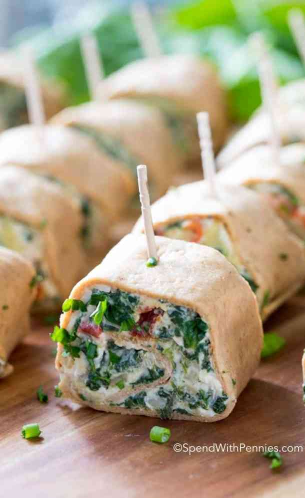 Spinach Artichoke Pinwheels -- part of The Best Pinwheel Recipes
