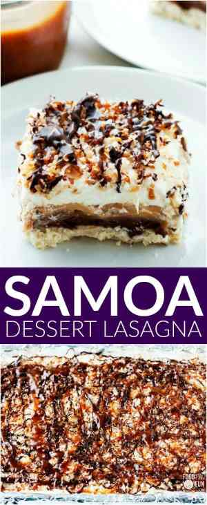 Samoa Dessert Lasagna is a layered dessert that's inspired by the beloved Samoa cookie!