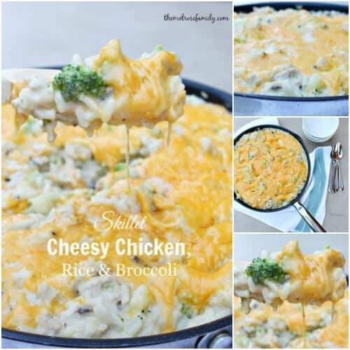 Skillet Cheesy Chicken with Rice and Broccoli