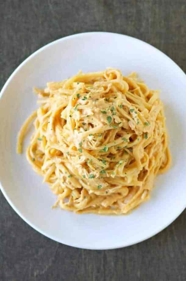 Slow Cooker Cheesy Buffalo Chicken Pasta