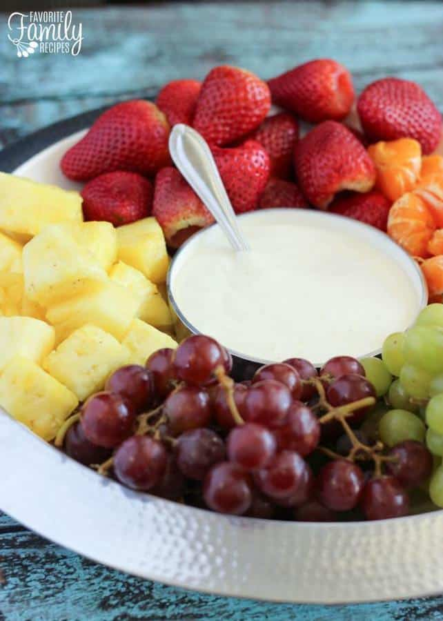 This Easy Fruit Dip has only 4 ingredients and takes just a few minutes to whip together. It is smooth and creamy with a hint of citrus. It complements the flavor of every kind of fruit. I love it with apples, oranges, pineapple, strawberries, kiwi, grapes, bananas, cantaloupe, watermelon, and any other fruit that is in season.