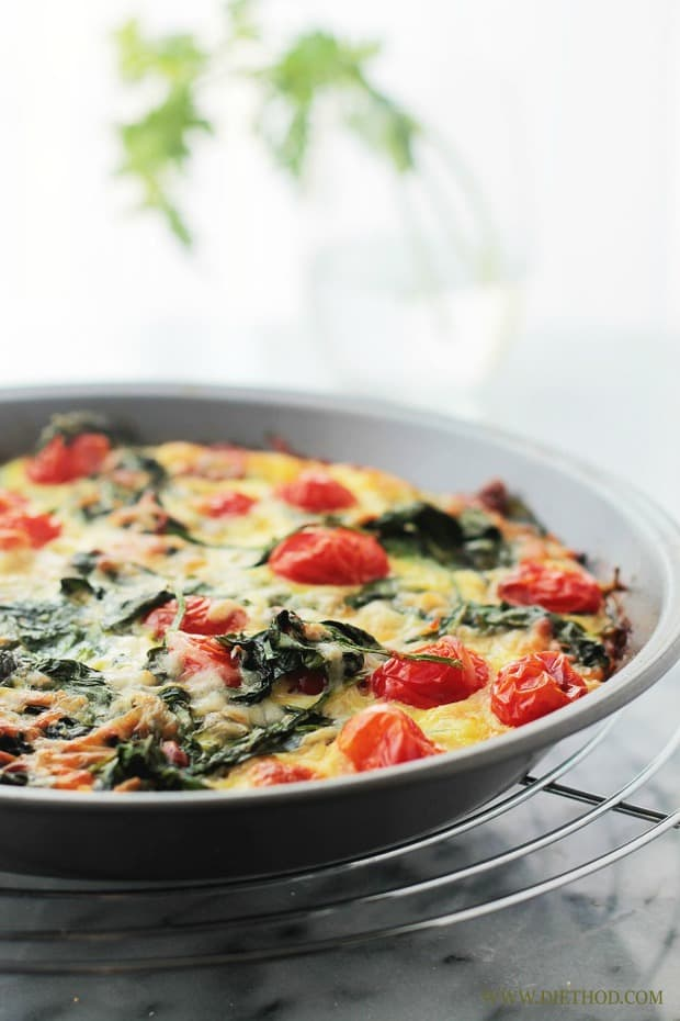 Hashbrowns, Spinach and Tomato Pie will be your new favorite breakfast!