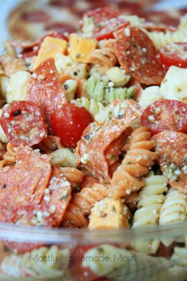 PEPPERONI PIZZA PASTA SALAD -- 19+ PASTA SALADS TO BRING SUMMER BACK INTO YOUR LIFE