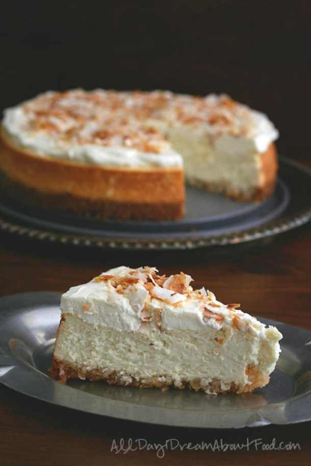 COCONUT CHEESECAKE WITH MACADAMIA NUT CRUST--31+ COCONUT DESSERTS THAT WILL SATISFY YOUR SWEET TOOTH!