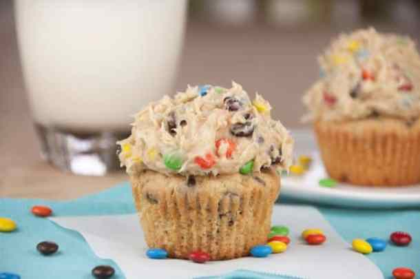 Monster Cookie Dough Cupcakes -- Part of M&M Monster Dessert Recipes that your kids will love!