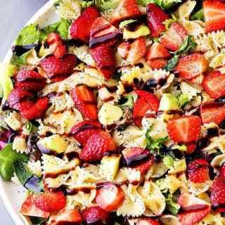 Strawberry Avocado Pasta Salad with Balsamic Glaze