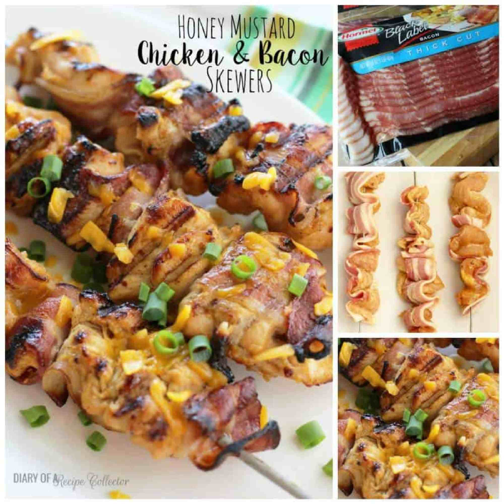 Honey Mustard Chicken and Bacon Skewers