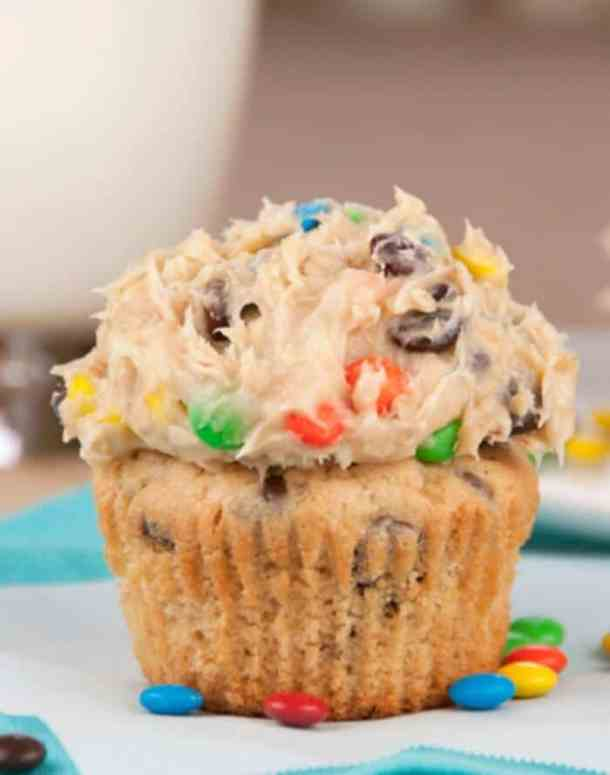 Monster Cookie Dough Cupcakes-- Part of 21 Recipes to make if you're OBSESSED with Cookie Dough!