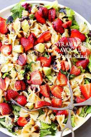 Strawberry Avocado Pasta Salad with Balsamic Glaze