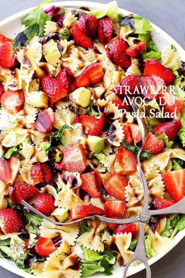 Strawberry Avocado Pasta Salad with Balsamic Glaze -- part of The Best Picnic and Potluck Recipes