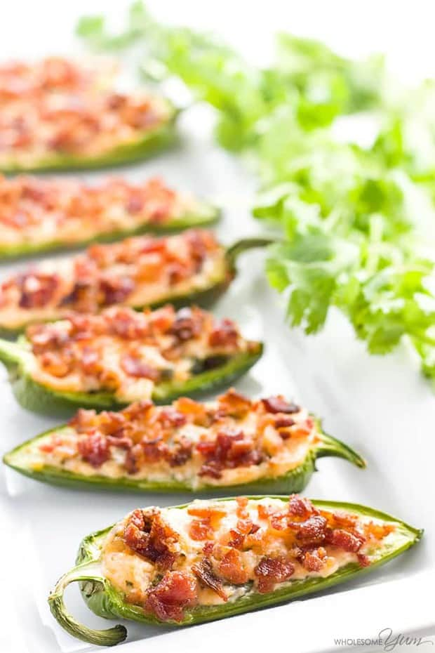 These easy cream cheese jalapeno poppers with bacon are super easy to make with just 7 ingredients you probably have right now! Naturally low carb and gluten-free.