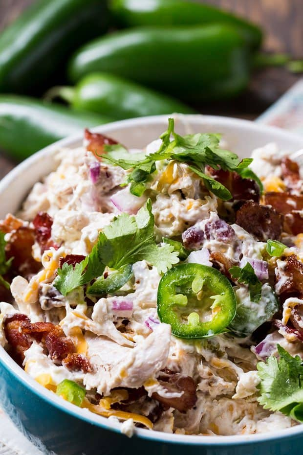 Jalapeno Popper Chicken Salad is super creamy with lots of jalapenos, cheddar cheese, and bacon. This is a chicken salad for people who love bold, spicy flavor.