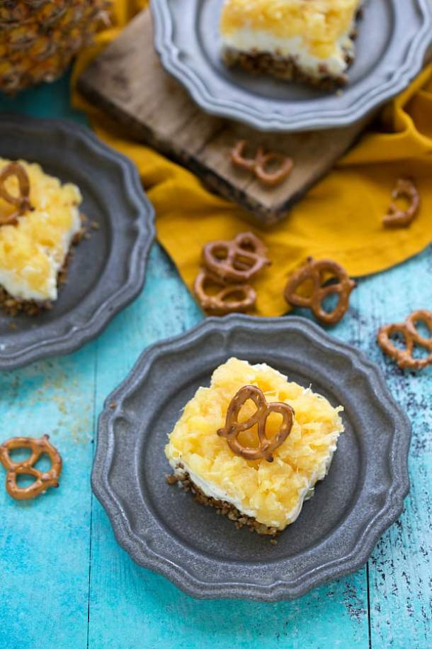 Pineapple Pretzel Salad-- Part of 30 Pineapple Recipes for your Sweet Summertime Cravings