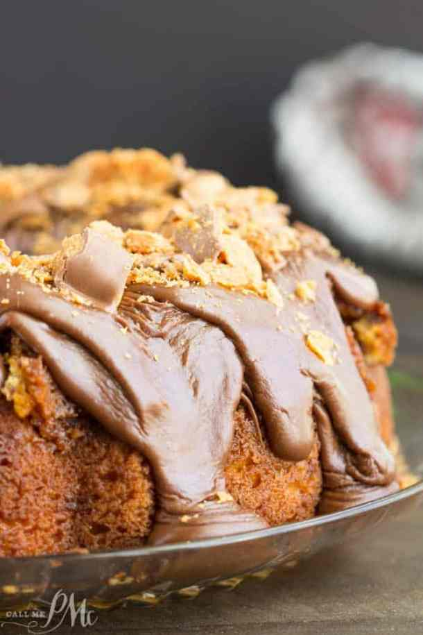 Cake Mix Butterfinger Pound Cake with Chocolate Ganache -- Part of The Best Butterfinger Recipes