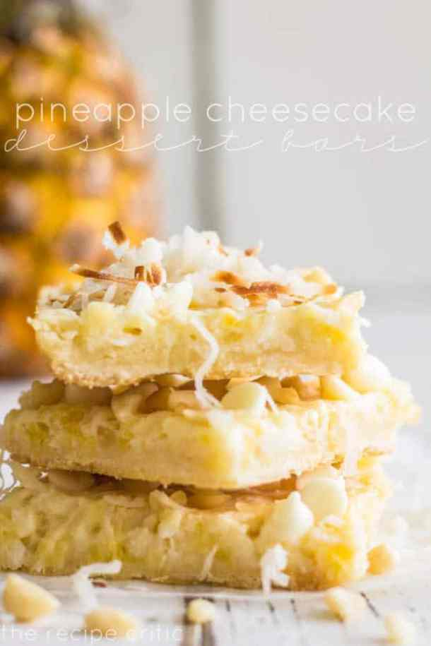 Pineapple Cheesecake Dessert Bars-- Part of 30 Pineapple Recipes for your Sweet Summertime Cravings