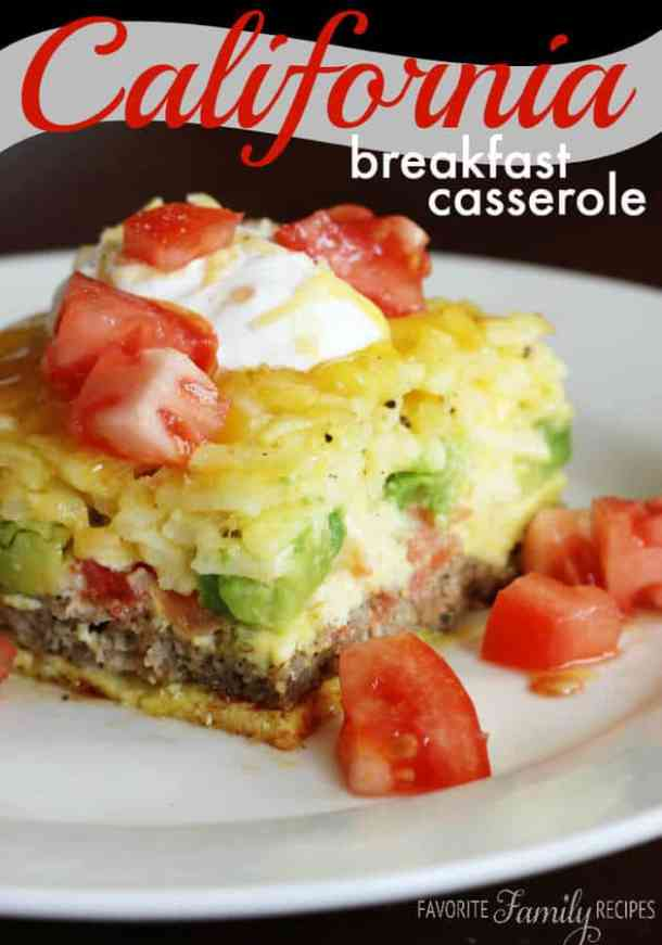 California Breakfast Casserole -- part of Cheesy Breakfast Recipes PERFECT for Saturday Mornings