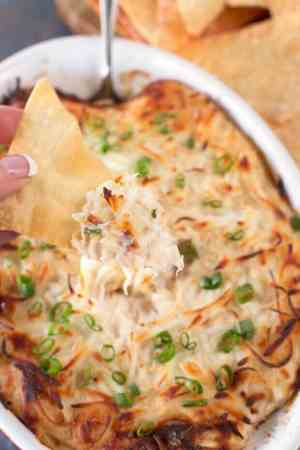 Crab Rangoon Dip with Crispy Wanton Chips