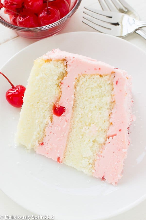 Cherry Almond Cake– This light and fluffy almond cake topped with maraschino cherry buttercream frosting is the perfect cake for any celebration!