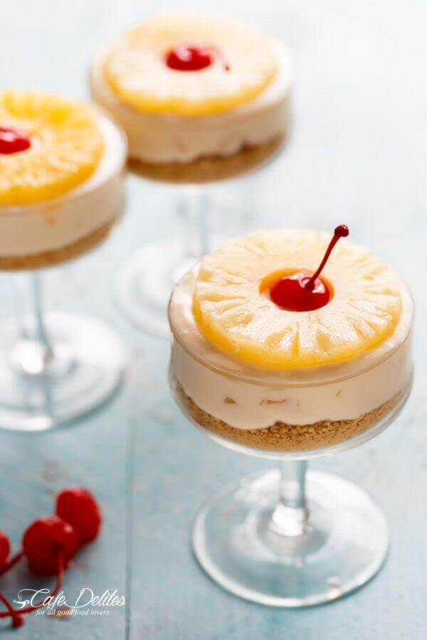No-Bake Pineapple Cheesecakes