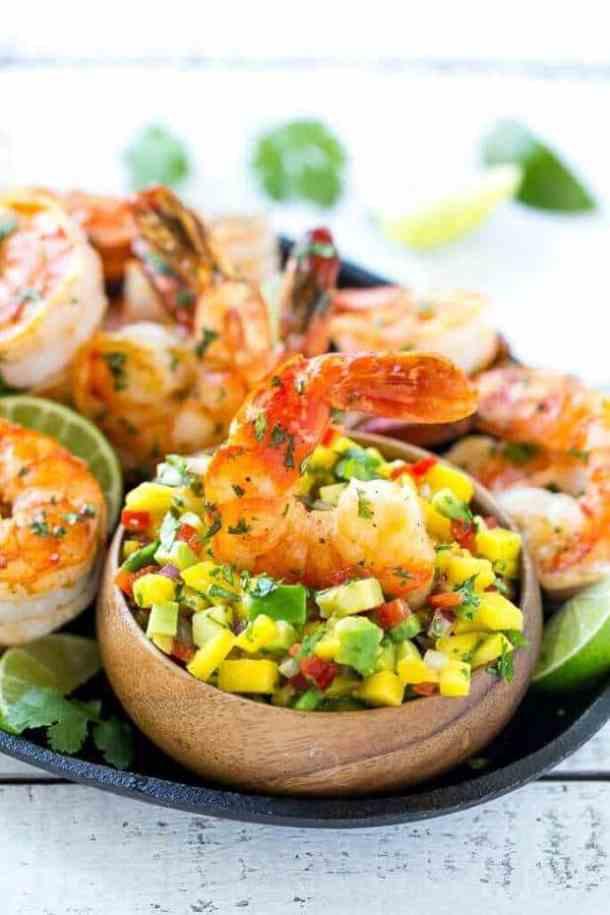 Cilantro Lime Shrimp with Mango Avocado Salsa