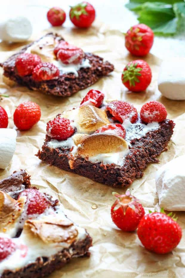 Strawberry Marshmallow Brownies are the best brownies you'll ever eat! Rich & chewy on the inside and ooey-gooey on the outside!