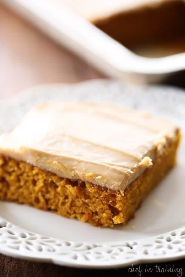 This will be the BEST dessert you make this fall! The caramel-pumpkin combination is HEAVENLY! The cake is so moist and the caramel frosting is the perfect finishing touch!