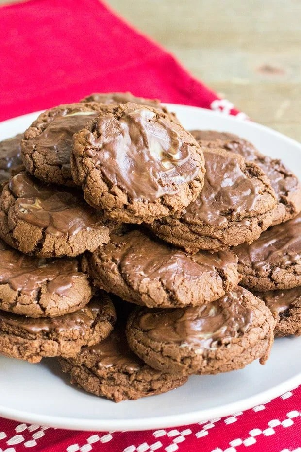 Chocolate Andes Mint Cookies are rich, minty and perfect for the winter season! The Andes mints are a refreshing topping for these easy chocolate cookies!