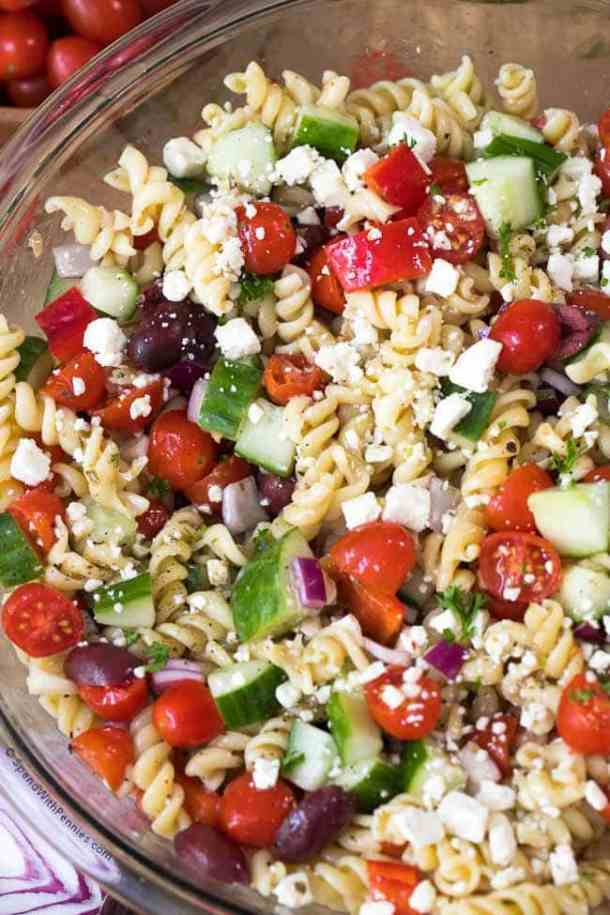 Easy Greek Pasta Salad -- part of The Best Picnic and Potluck Recipes
