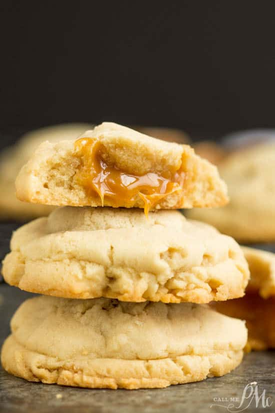 Caramel Stuffed Sugar Cookies are thick, buttery cookies stuffed with ooey, gooey caramel makes the perfect snack!