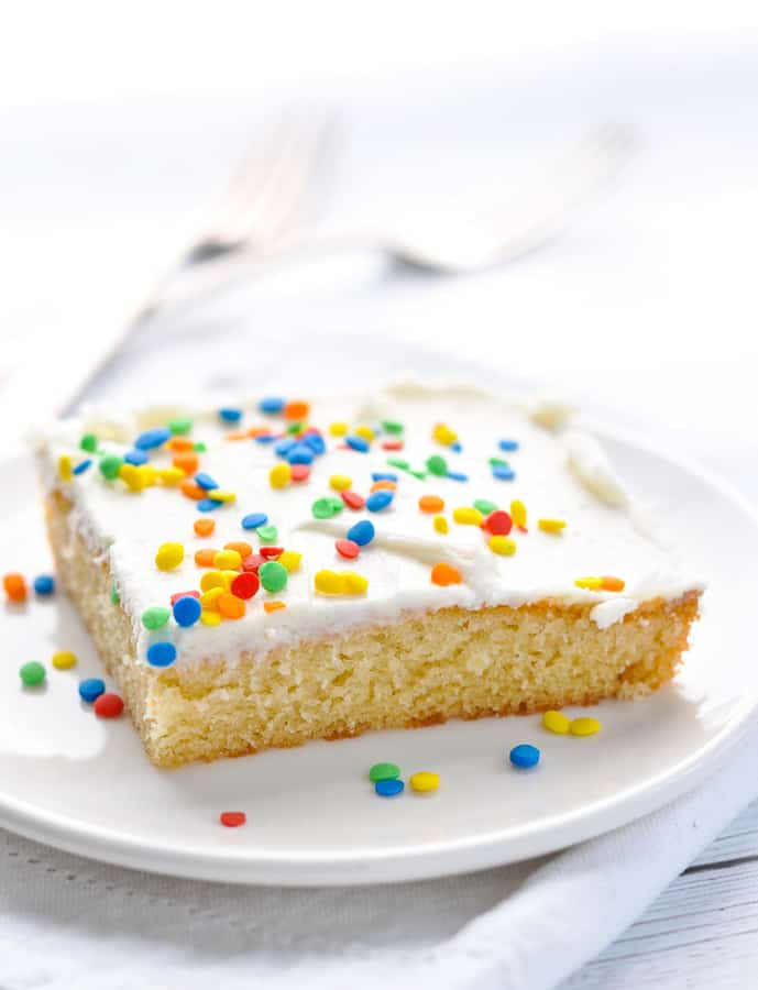 Whether you're preparing a birthday treat for a child, a sweet dish for a school class, or a festive dessert for the next holiday, this easy homemade cake can be decorated with sprinkles to suit any special occasion!