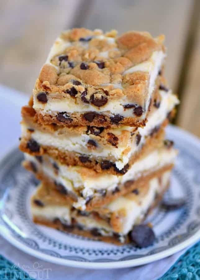 These easy Chocolate Chip Cookie Cheesecake Bars are made with just five ingredients! This easy dessert recipe will satisfy all your cravings!