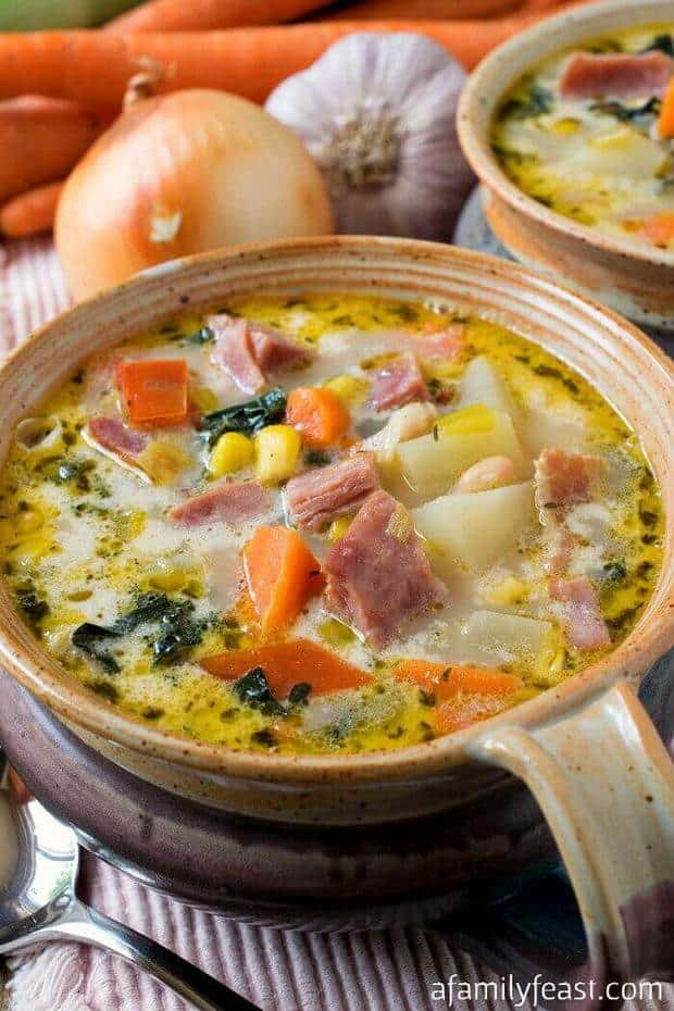 This delicious Ham and Vegetable Soup is the perfect way to cook with a leftover ham bone that you might have on hand from a special Sunday supper or a holiday meal!