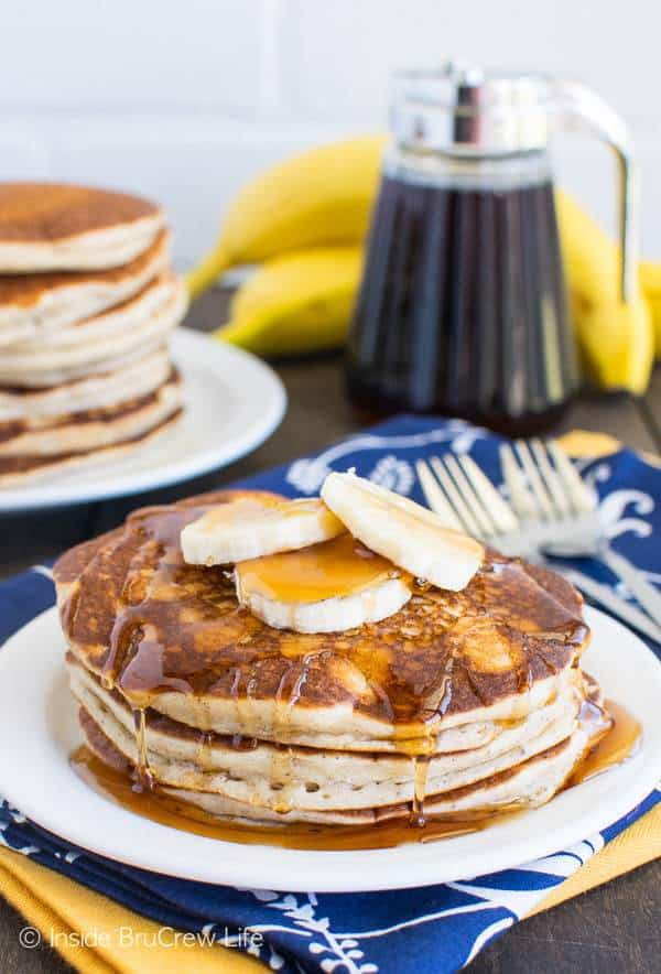 Banana Pancakes are a sweet start to the day. Bursting with banana flavor, the batter mixes up easily in a blender.
