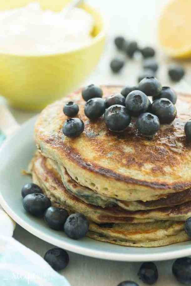 Lemon Blueberry and Greek Yogurt Pancakes-- Part of THE BEST PANCAKE RECIPES