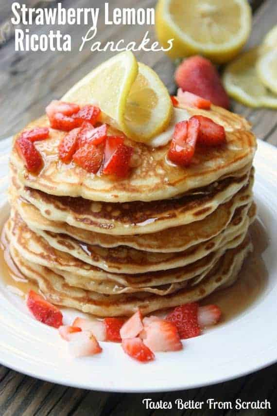 Strawberry Lemon Ricotta Pancakes are perfectly fluffy pancakes with a hint of lemon and topped with fresh strawberries.