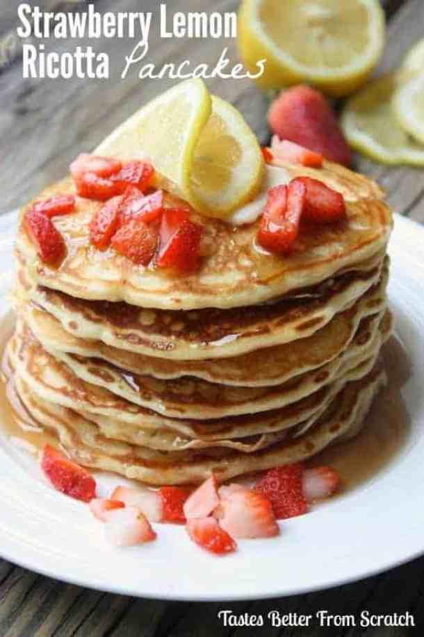 Strawberry Lemon Ricotta Pancakes-- Part of THE BEST PANCAKE RECIPES