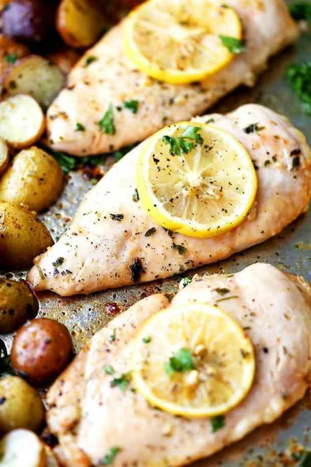 SHEET PAN HONEY GARLIC LEMON CHICKEN WITH POTATOES -- PART OF OUR 20 MUST MAKE LEMON CHICKEN RECIPES