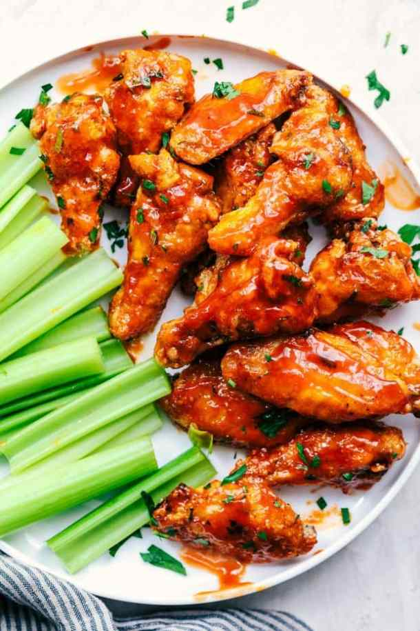Baked Sticky Honey Garlic Buffalo Chicken Wings --Part of 25+ Favorite Buffalo Flavored Recipes