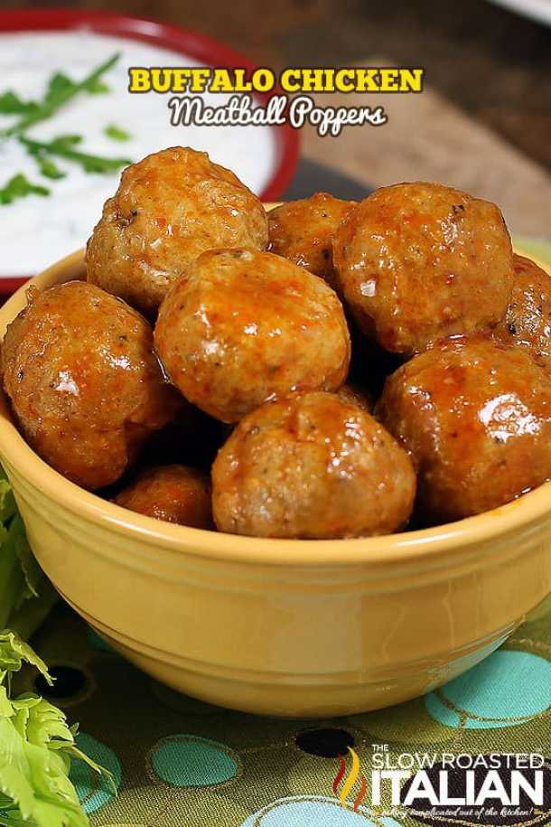 Buffalo Chicken Meatball Poppers --Part of 25+ Favorite Buffalo Flavored Recipes