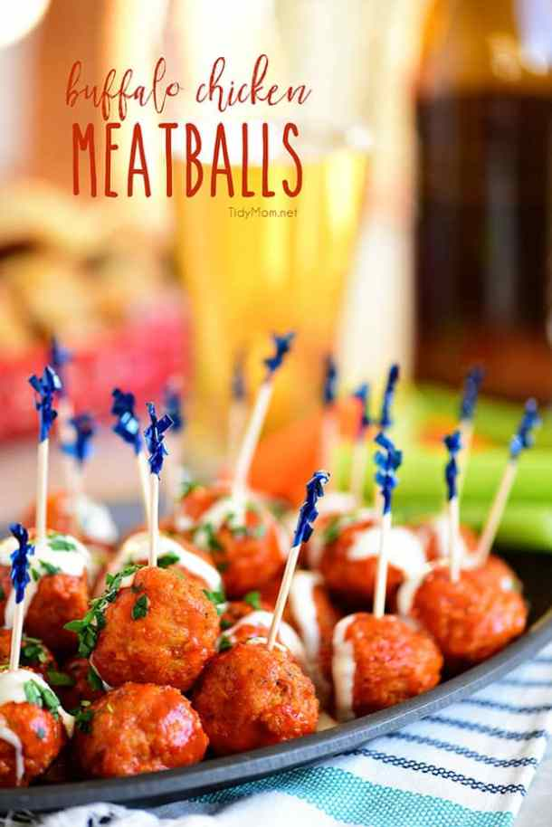 Buffalo Chicken Meatballs --Part of 25+ Favorite Buffalo Flavored Recipes