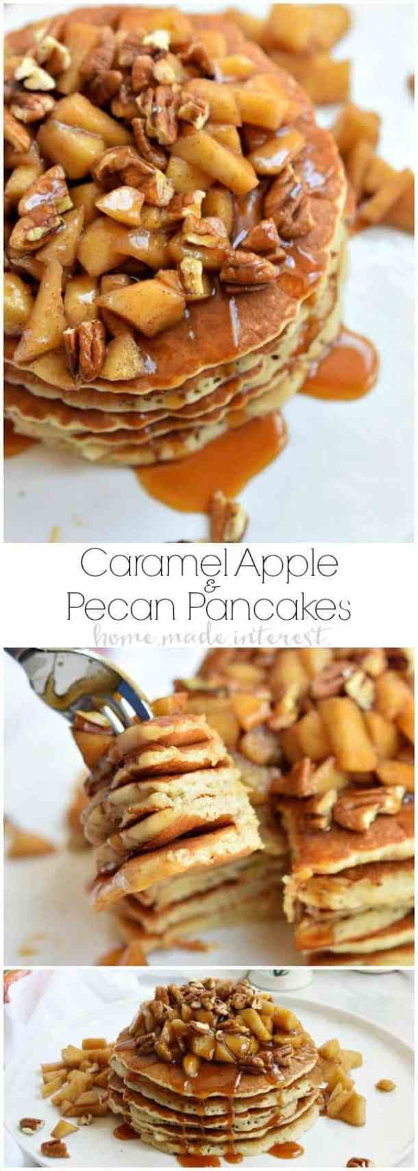 CARAMEL APPLE PECAN PANCAKES -- part of 21+ Pecan Recipes Perfect for Fall Baking