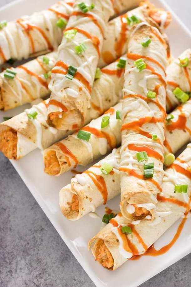 Cheesy Buffalo Chicken Taquitos --Part of 25+ Favorite Buffalo Flavored Recipes