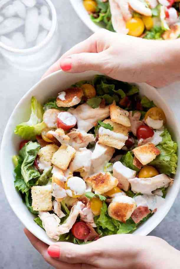 Chicken BLT Salad with Buttermilk Parmesan Dressing