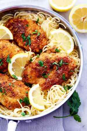 Crispy Parmesan Chicken with Creamy Lemon Garlic Pasta