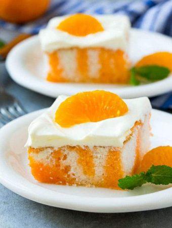 Creamsicle Orange Poke Cake -- Part of The Best Orange Creamsicle Recipes