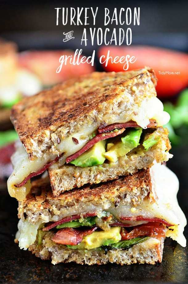 11 Turkey Bacon and Avocado Grilled Cheese21+ Grilled Cheese Sandwiches that your family will go CRAZY for!