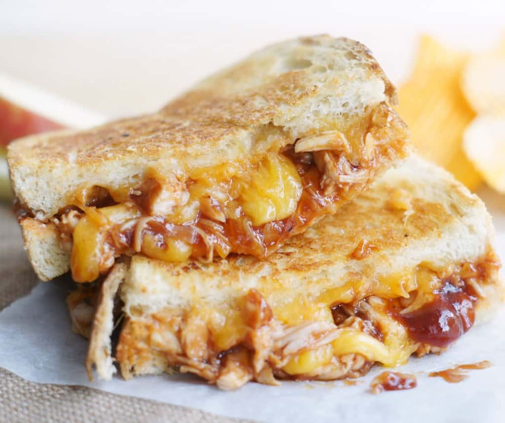 These BBQ Chicken Grilled Cheese Sandwiches are easy to make and kids LOVE them!