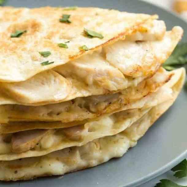 Chicken Alfredo Quesadillas--Part of THe Best Quesadillas Recipes